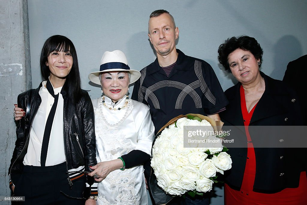 Artistic Director and Stylist of Lanvin Women, Bouchra Jarrar, Owner of Lanvin Shaw Lan Wang and Stylist <a gi-track='captionPersonalityLinkClicked' href=/galleries/search?phrase=Lucas+Ossendrijver&family=editorial&specificpeople=5531949 ng-click='$event.stopPropagation()'>Lucas Ossendrijver</a> and General Director of Lanvin Michele Huiban attend the Lanvin Menswear Spring/Summer 2017 show as part of Paris Fashion Week on June 26, 2016 in Paris, France.