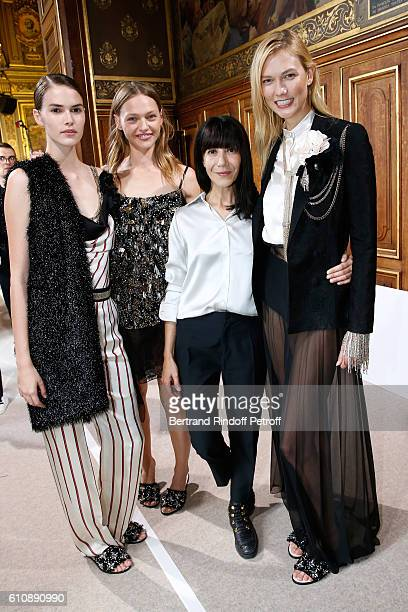 Artistic Director and Stylist of Lanvin Women Bouchra Jarrar poses with her Models after the Lanvin show as part of the Paris Fashion Week Womenswear...