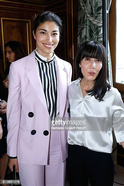 Artistic Director and Stylist of Lanvin Women Bouchra Jarrar poses with Caroline Issa after the Lanvin show as part of the Paris Fashion Week...