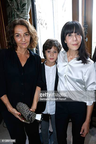 Artistic Director and Stylist of Lanvin Women Bouchra Jarrar poses with her nephew Orian and nathalie Rykiel after the Lanvin show as part of the...