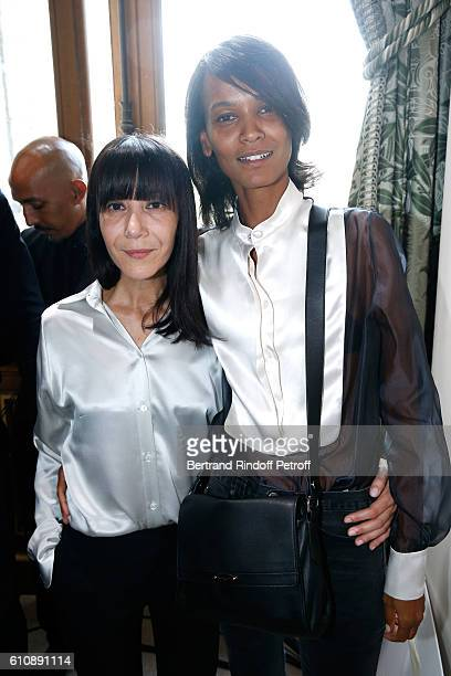 Artistic Director and Stylist of Lanvin Women Bouchra Jarrar poses with Model Liya Kebede after the Lanvin show as part of the Paris Fashion Week...