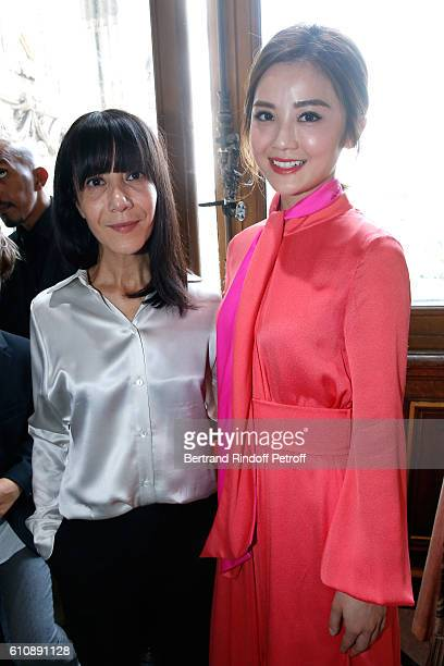 Artistic Director and Stylist of Lanvin Women Bouchra Jarrar poses with Actress Charlene Choi after the Lanvin show as part of the Paris Fashion Week...