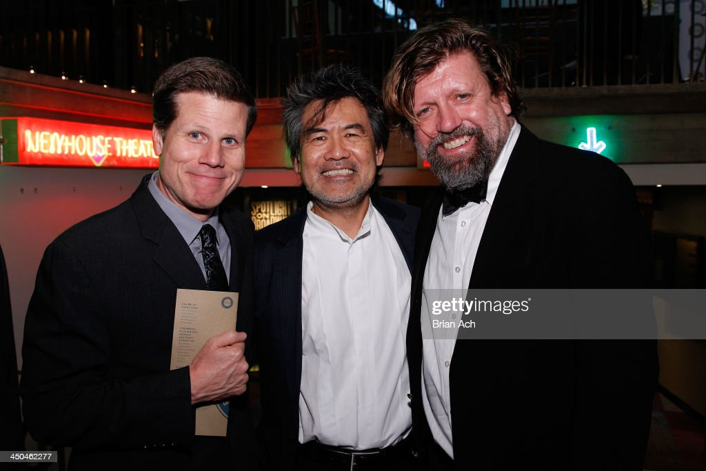 Artistic director Bill Rauch, Playwright David Henry Hwang and <a gi-track='captionPersonalityLinkClicked' href=/galleries/search?phrase=Oskar+Eustis&family=editorial&specificpeople=559040 ng-click='$event.stopPropagation()'>Oskar Eustis</a> attend The 2013 Steinberg Playwright 'Mimi' Awards presented by The Harold and Mimi Steinberg Charitable Trust at Lincoln Center Theater on November 18, 2013 in New York City.