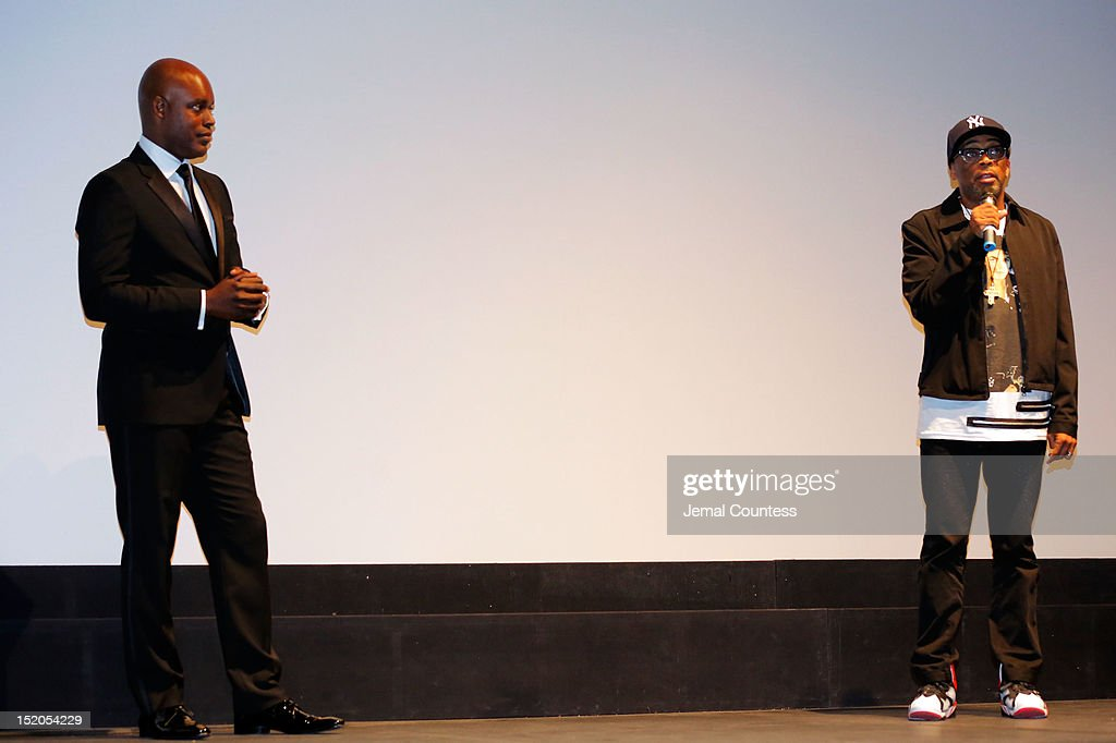 Artistic Director Cameron Bailey (L) and director Spike Lee speak at the 'Bad 25' Premiere during the 2012 Toronto International Film Festival held at the Ryerson Theatre on September 15, 2012 in Toronto, Canada.