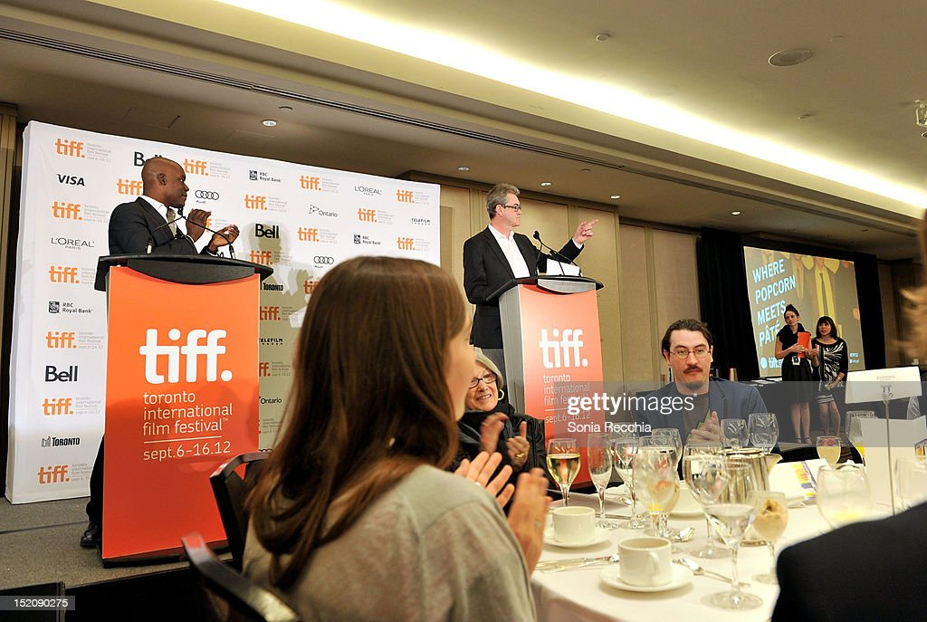 Artistic Director Cameron Bailey and TIFF Director and CEO Piers Handling speak at the 37th Toronto International Film Festival Award Winner Ceremony held at the InterContinental Toronto Center Hotel on September 16, 2012 in Toronto, Canada.