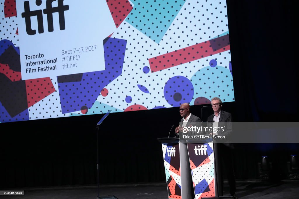 Artistic Director Cameron Bailey and TIFF Director & CEO Pier Handling speak on stage the 2017 TIFF Awards Ceremony at TIFF Bell Lightbox on September 17, 2017 in Toronto, Canada.