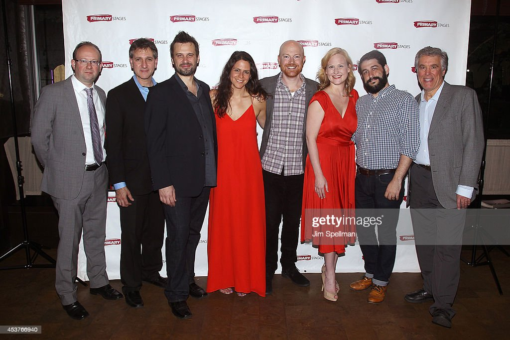 Artistic Director for Primary Stages Theater Andrew Leynse, Elliot Fox, actors Brian Avers, Katie Kreisler, Peter Biehl, Heidi Armbruster, director Evan Cabnet and Casey Childs attend the 'Poor Behavior' Opening Night after party at Casa Nonna on August 17, 2014 in New York City.