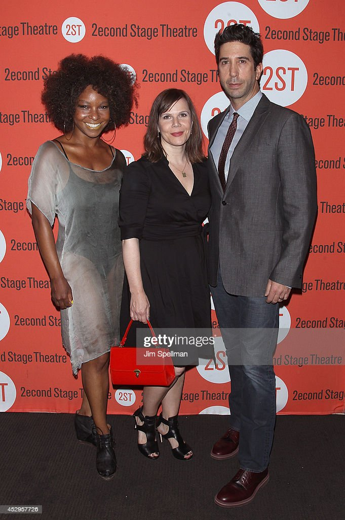 Artistic director J. Nicole Brooks, playwright Laura Eason and director/actor <a gi-track='captionPersonalityLinkClicked' href=/galleries/search?phrase=David+Schwimmer&family=editorial&specificpeople=206148 ng-click='$event.stopPropagation()'>David Schwimmer</a> attend the 'Sex With Strangers' Opening Night after party at Four at Yotel on July 30, 2014 in New York City.
