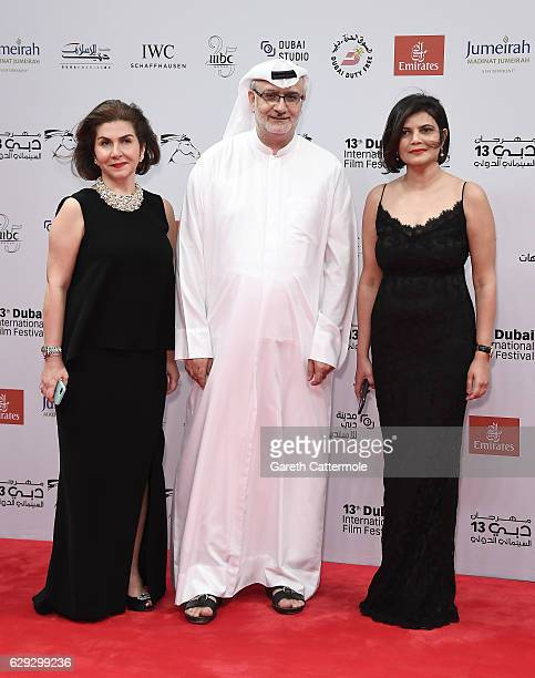Artistic Director Masoud Amralla Al Ali and Managing Director of DIFF Shivani Pandya attend 'The Distinguished Citizen' red carpet during day six of...