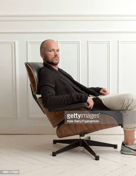 107344003 Artistic director of Cerruti Aldo Maria Camillo is photographed in a Longue Chair designed by Charles Ray Eames 1956 for Madame Figaro on...