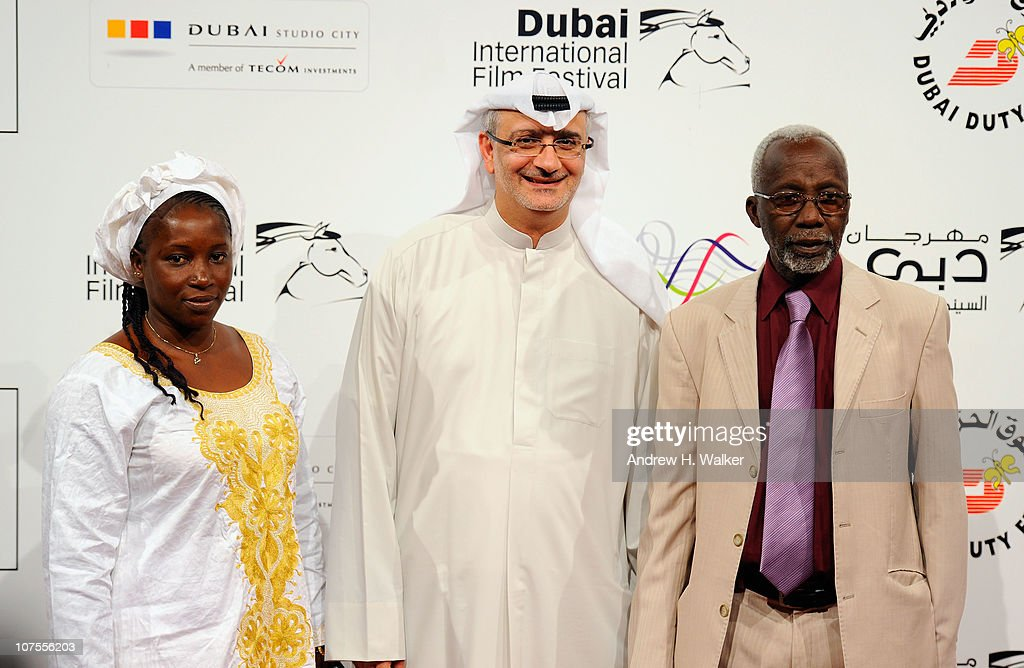 Artistic Director of DIFF Masoud Amralla Al Ali (C) and Souleymane Cisse attend the 'Six, Seven, Eight' premiere during day two of the 7th Annual Dubai International Film Festival held at the Madinat Jumeriah Complex on December 13, 2010 in Dubai, United Arab Emirates.