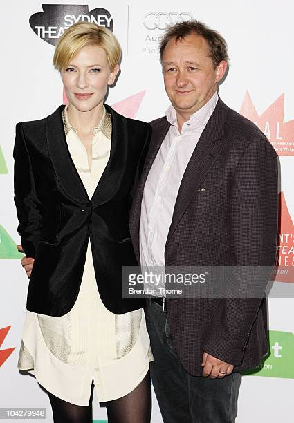 Artistic Directors Cate Blanchett and Andrew Upton pose during a photo call at the Sydney Theatre Company's 2011 main stage launch at Sydney Theatre...