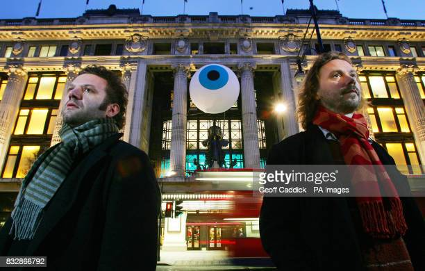 Artistic duo Dadadandy Simon Moretti and Paul HeberPercy outside Selfridges store on London`s Oxford Street with `The Sum of All Reasons` a...
