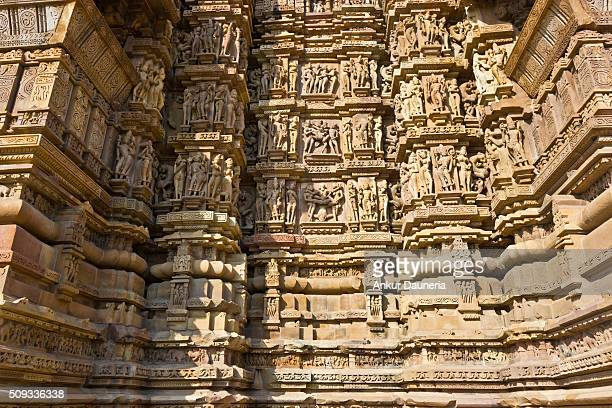 Artistic sculptures of Kandariya Mahadeva Temple, Khajuraho, Chhatarpur District, Madhya Pradesh, India