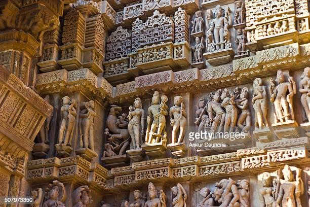 Artistic sculptures of Khajuraho Temples, Chhatarpur District, Madhya Pradesh, India
