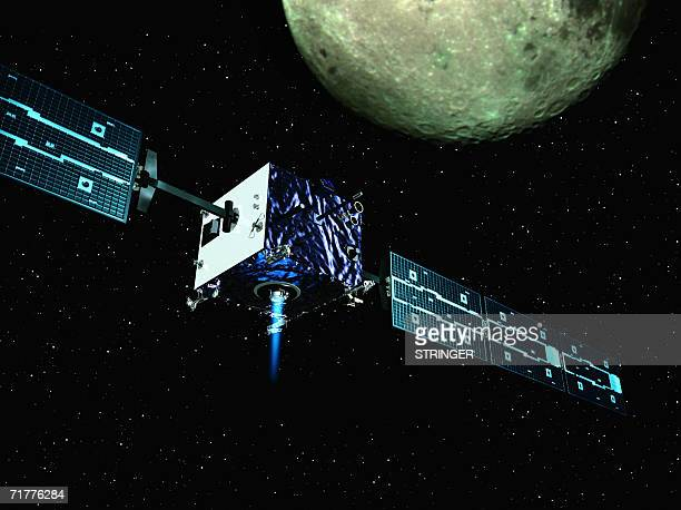Artistic view released by ESA 03 September 2006 shows the Europe's first probe to the Moon SMART1 during its mission before its scheduled crash...
