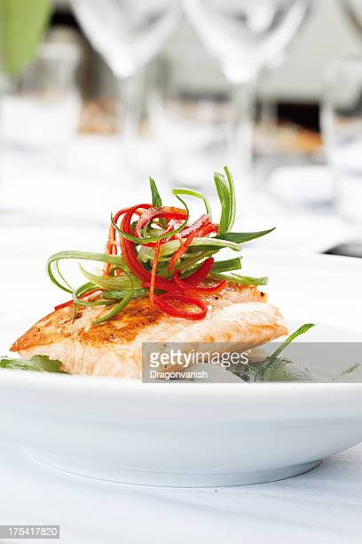 Artistically plated salmon dish
