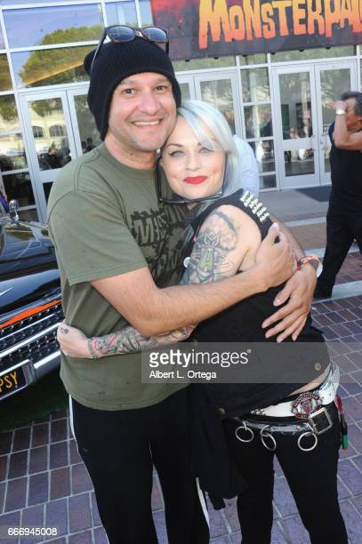 Artist/musician Neil D'Monte and tattoo artist MJ attend day 2 of the 2017 Monsterpalooza held at Pasadena Convention Center on April 9 2017 in...