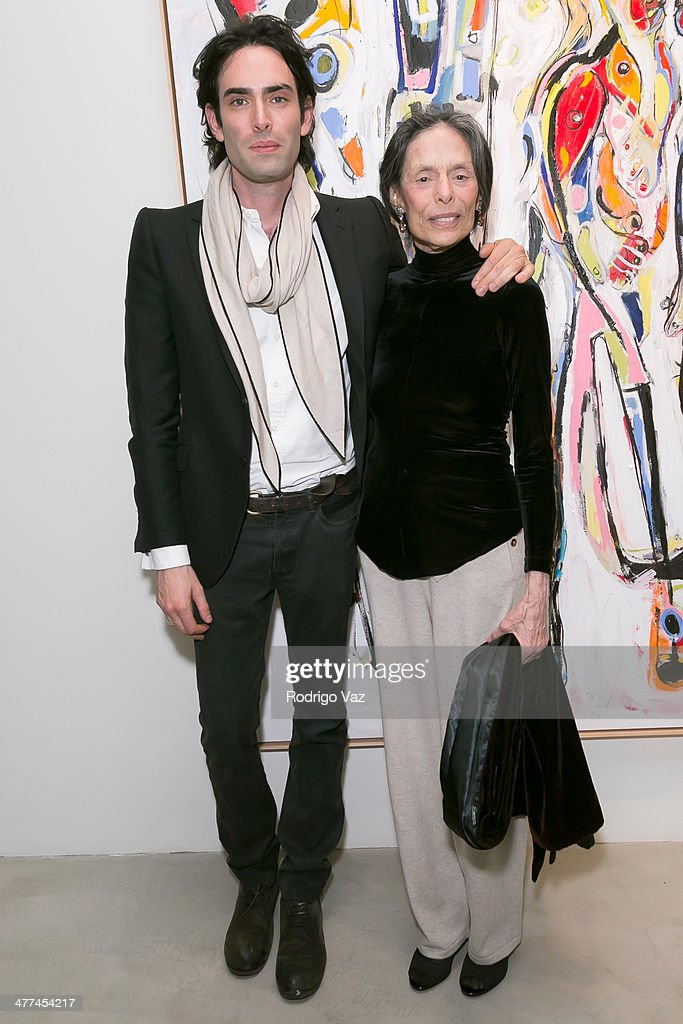 Artists Alexander Yulish (L) and Barbara Pearlman attend Alexander Yulish 'An Unquiet Mind' VIP Opening Reception at KM Fine Arts LA Studio on March 8, 2014 in Los Angeles, California.