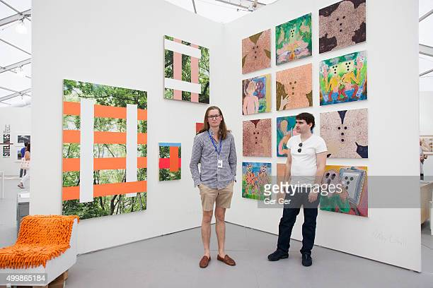 Artists Aron Gent and Andy Cahill at Art Week Miami 2015 on December 3 2015 in Miami Florida