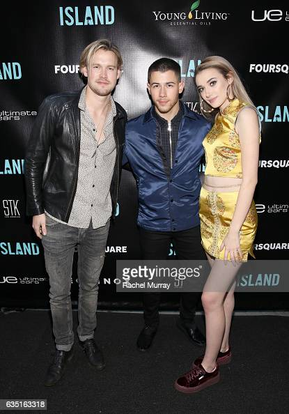 Artists Chord Overstreet Nick Jonas and Olivia O'Brien attend Island Records PreGrammy Party presented by Foursquare with additional partners Young...