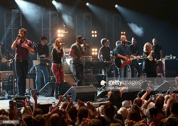 Artists close out the show with a big finale during Keith Urban's Fifth Annual 'We're All 4 The Hall' Benefit Concert at the Bridgestone Arena on May...
