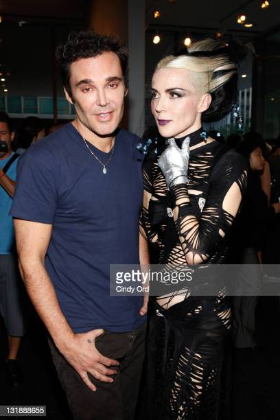 Artists David LaChapelle and Daphne Guinness attend David LaChapelle's 'From Darkness To Light' exhibition opening at Lever House on June 2 2011 in...