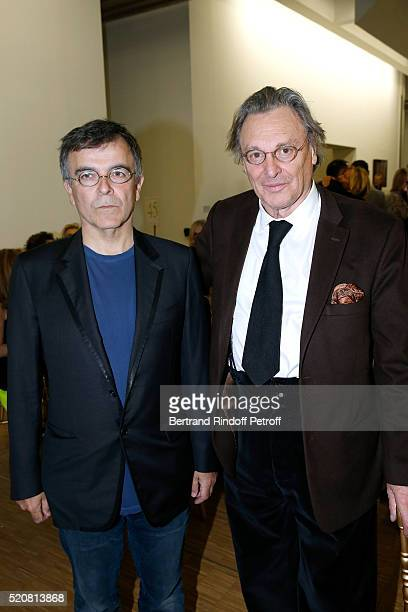 Artists Fabrice Hyber and Gerard Garouste attend the Societe des Amis du Musee d'Art Moderne du Centre Pompidou Dinner Party Held at Centre Pompidou...