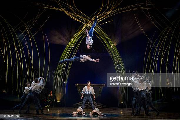 Artists from Cirque Du Soleil perform during a dress rehearsal for Cirque du Soleil's 'Amaluna' at Royal Albert Hall on January 11 2017 in London...