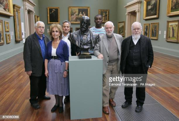 Artists from left to right Sir Howard Hodgkin Paula Rego Anish Kapoor Chris Ofili Sir Anthony Caro and Sir Peter Blake pose with a bust of Sir Henry...