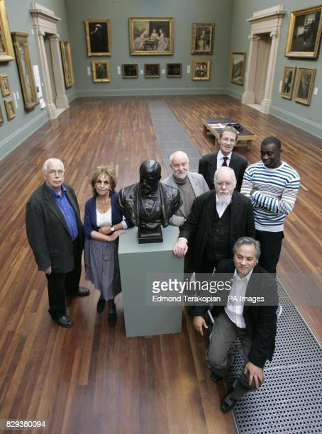 Artists from left to right Sir Howard Hodgkin Paula Rego Sir Anthony Caro Sir Peter Blake Anish Kapoor and Chris Ofili pose with a bust of Sir Henry...
