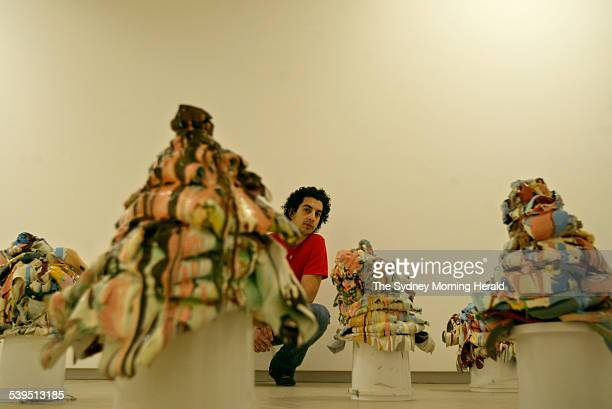 Artists from the 2004 Primavera exhibition at the MCA for emerging artists under 35 years of age on 26 August 2004 Pictured is Huseyin Sami with his...