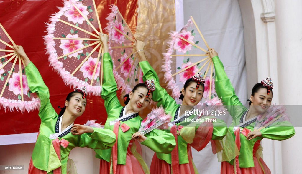 Artists from Twenty six member China Jilin Provincial Art troupe from Republic of China perform at Rabindra Bharati University on March 1, 2013 in Kolkata, India. The event mark the spring festival & Chinese New year.
