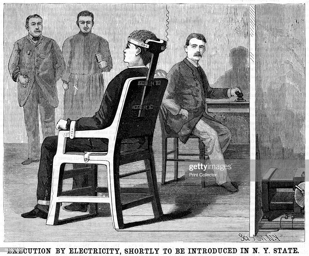 First electric chair victim - Artist S Impression Of Execution By Electric Chair 1890 After Experiments On Animals To Ensure