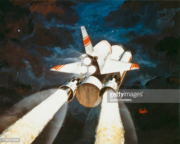Artist's impression of NASA's reusable launch vehicle the space shuttle in flight its Solid Rocket Boosters engaged the orbiter riding on top of the...