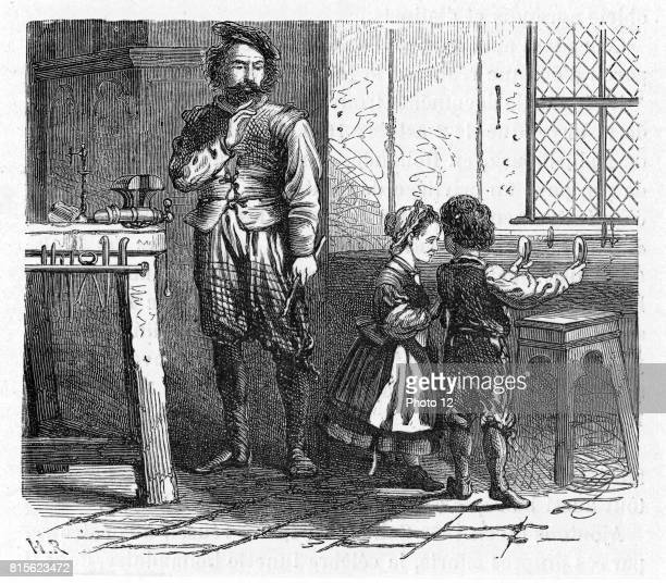 Artist's impression of the chance discovery of the principle of the telescope by children playing in the workshop of the Dutch optician Hans...