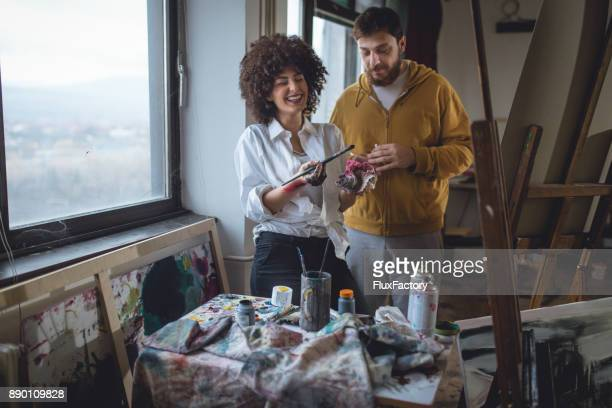 Artists in art studio