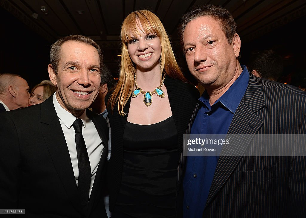 Artists Jeff Koons, Kelly Berg, and Andy Moses attend the Dom Perignon Reception after The Un-Private Collection: Jeff Koons and John Waters in Conversation at Orpheum Theatre on February 24, 2014 in Los Angeles, California.