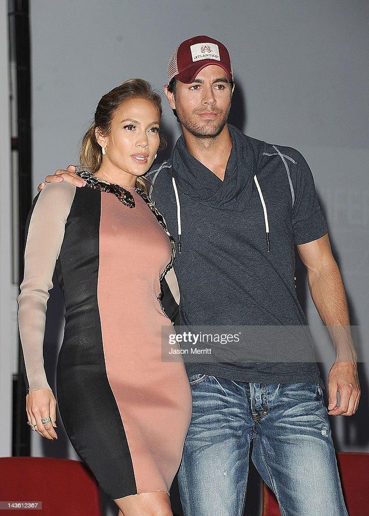 Artists Jennifer Lopez Enrique Iglesias and Atlantico Rum celebrate the upcoming Enrique Iglesias Jennifer Lopez and Wisin Yandel Tour at Boulevard3...
