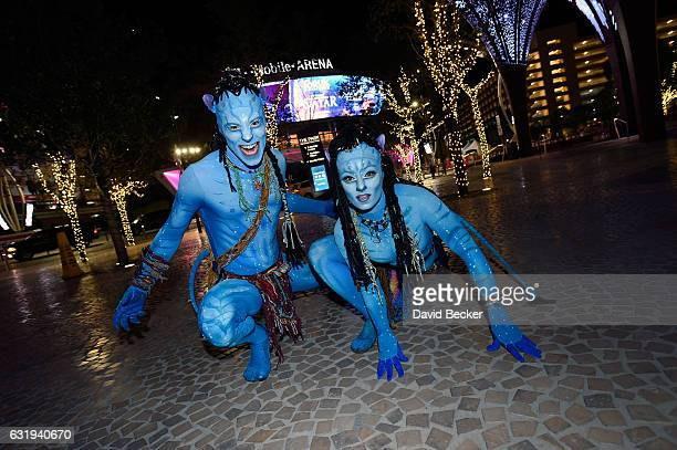 Artists Jeremiah Hughes and Jessica Ward from Cirque du Soleil's touring show 'TORUK The First Flight' pose during a special appearance at 'Party at...