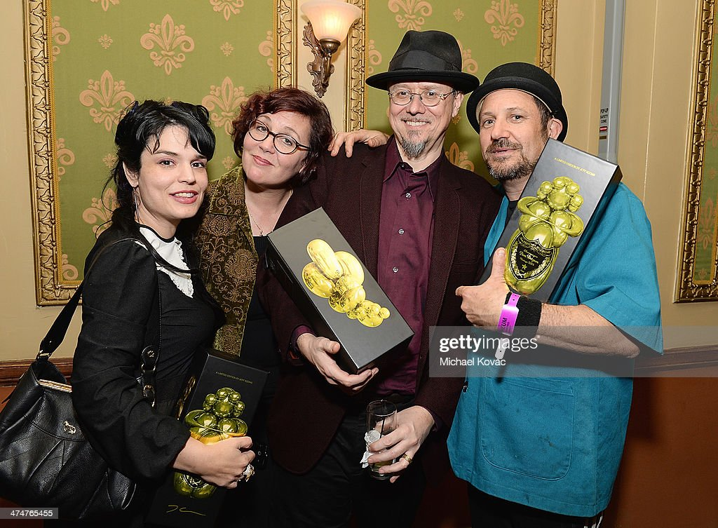 Artists Jessicka Addams, Marion Peck, Mark Ryden, and Fred Eric attend the Dom Perignon Reception after The Un-Private Collection: Jeff Koons and John Waters in Conversation at Orpheum Theatre on February 24, 2014 in Los Angeles, California.