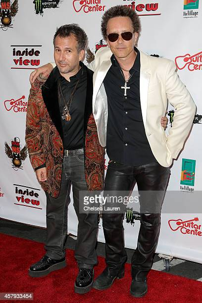 Artists Joey Feldman and musician Billy Morrison arrive at an evening of art with Billy Morrison and Joey Feldman benefiting the Rock Against MS...