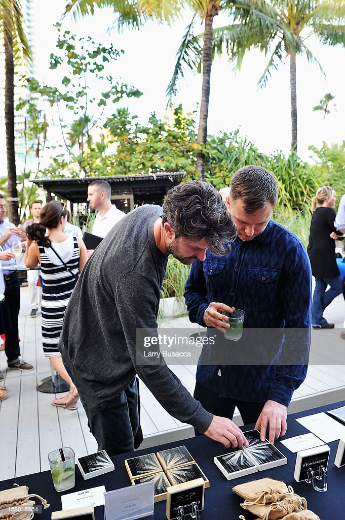 Artists Kai and Sunny attend AD Oasis hosts Caesarstone's Happy Hour at The Raleigh on December 7, 2012 in Miami, Florida.