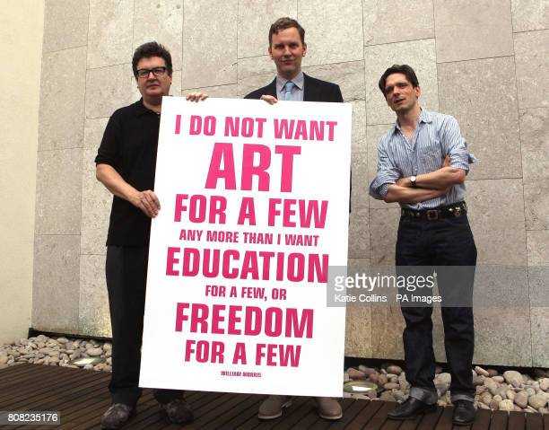 Artists Mark Wallinger David Shrigley and Jeremy Deller launch a new campaign against art funding cuts at the Royal Festival Hall London