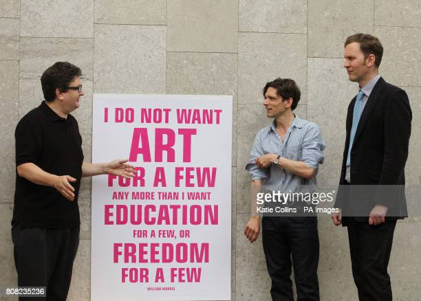 Artists Mark Wallinger Jeremy Deller and David Shrigley launch a new campaign against art funding cuts at the Royal Festival Hall London