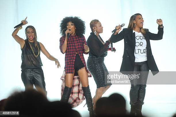 Artists MC Lyte Brandy YoYo and Queen Latifah perform onstage at the BET Hip Hop Awards 2014 at Boisfeuillet Jones Atlanta Civic Center on September...