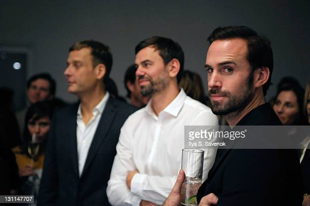 Artists Michael Elmgreen Ingar Dragset and actor Joseph Fiennes attend the Performa 11 opening night 'Happy Days in the Art World' premiere at...