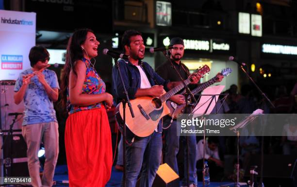 Artists of Delhi Indie Project Live Band performing during the Jam season4 in Cyber Hub organised by Hindustan Times on July 7 2017 in Gurgaon India