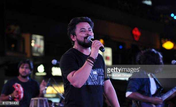Artists of Swarrveda Live Band performing during the Jam season4 in Cyber Hub organised by Hindustan Times on July 7 2017 in Gurgaon India