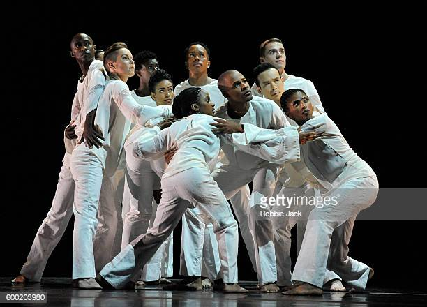 Artists of the Alvin Ailey American Dance Theatre in Robert Battle's Awakening at Sadlers Wells Theatre on September 6 2016 in London England